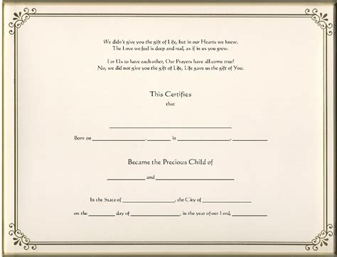 child adoption certificate template keepsake adoption 8 5 x 11 inch certificate gold border