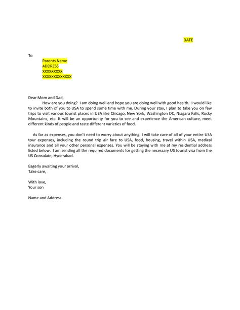 Visa Letter Of Invitation Uk For Family invitation letter for family to visit usa invitation