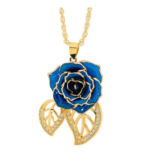 rose themed jewelry blue glazed rose pendant in leaf theme 24k gold