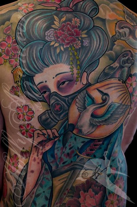 animal back piece tattoo justins geisha with a gas mask back piece detail by holly