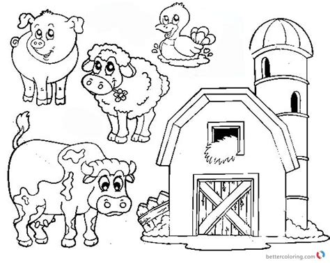 animals in the barnyard coloring page barn house barn coloring pages farm animals free printable coloring
