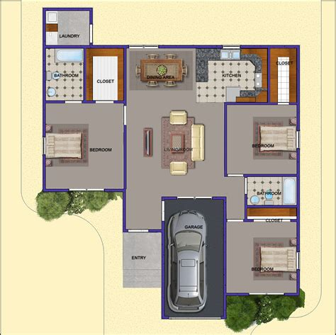 3 floor plans 3 bedroom floor plans with garage 3 bedroom open floor