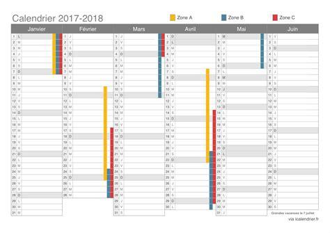 Calendrier 2018 2ème Semestre à Imprimer Vacances Scolaires 2017 2018 Dates Icalendrier