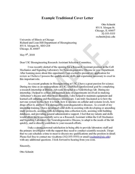 Cover Letter Engineering Career Center University Of Illinois At Chicago Traditional Cover Letter Template
