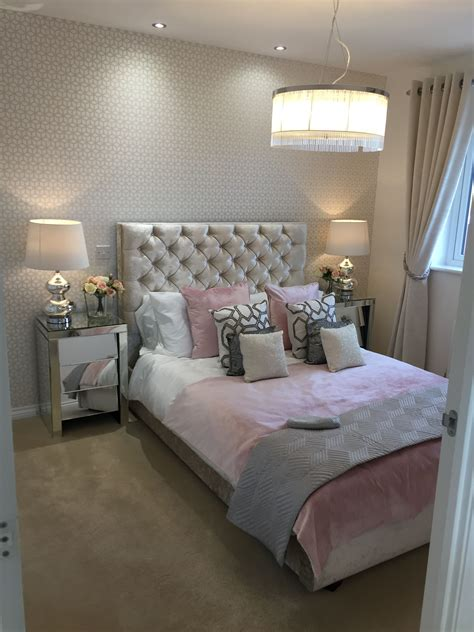 pink gold  silver bedroom large lampshade chesterfield