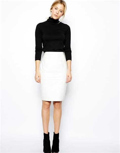 asos leather pencil skirt in knee length in white lyst