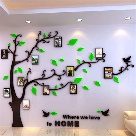 diy 3d crystal acrylic mirror decorative photo frame tree
