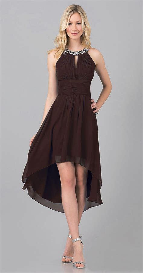 Semi Formal Black High Low Dress Jewel High Neck Keyhole