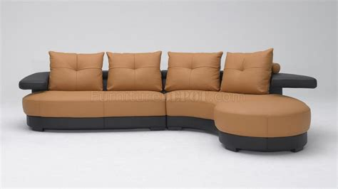 black and brown two tone leather modern sectional sofa