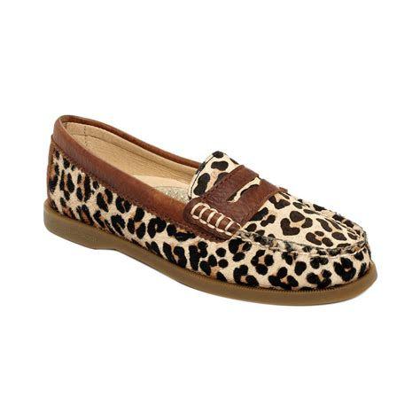 leopard loafers sperry top sider hayden loafer flats in brown