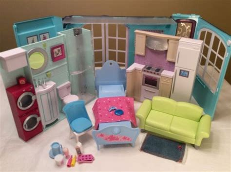 folding barbie doll house barbie my house fold up folding doll house dollhouse kitchen bathroom bed couch what s it worth