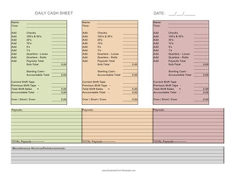 daily cash sheet template cash count sheet audit working papers