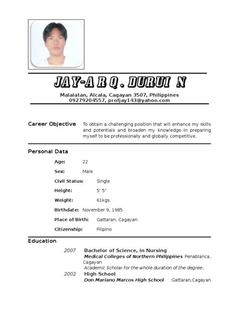 Curriculum Vitae Sle In The Philippines Resume