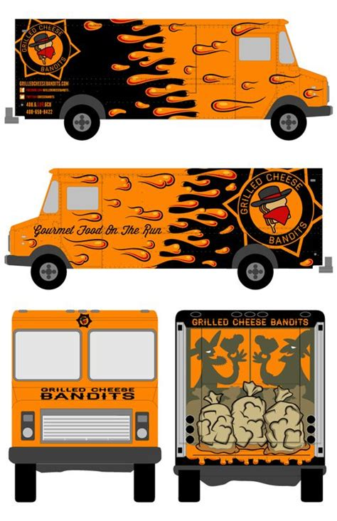 Grilled Cheese Bandits Food Truck Chad Landenberger Illustration Pinterest Nice Trucks Food Truck Wrap Design Template