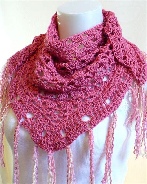triangle neck pattern pink triangle scarf crocheted neck shawl with fringe