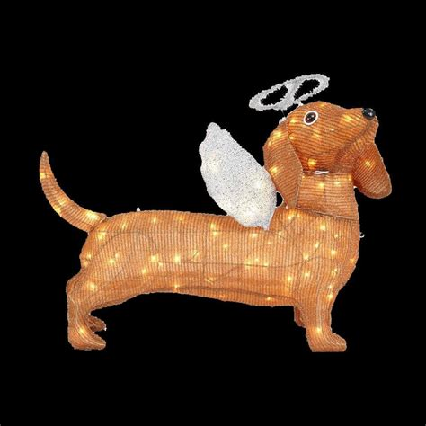 Home Accents Holiday 21.25 in. LED Lighted Tinsel Dachshund Dog TY571 1414 The Home Depot