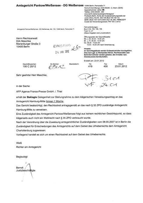 Anschreiben Gericht Vorlage Agence Presse Gmbh