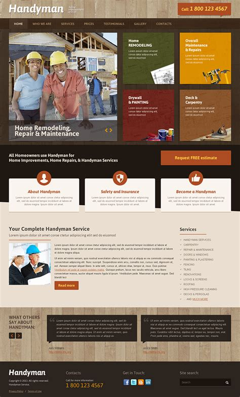 home improvement sites handyman home improvement service bootstrap template on