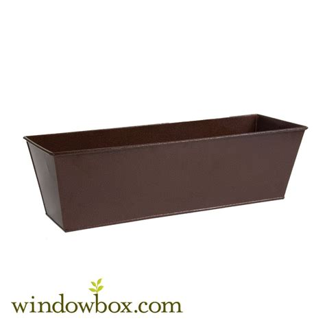 galvanized window boxes 30in galvanized tapered window box powder coated bronze