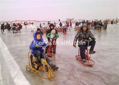 ice cycling at harbin songhua river ice and snow happy