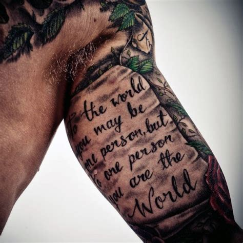 tattoos quotes for men on arm top 50 best arm tattoos for bicep designs and ideas