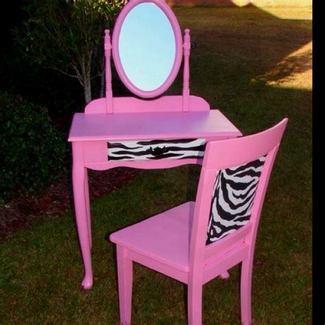 pink zebra vanity and chair makeup table