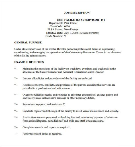 templates for job descriptions 10 supervisor job description templates free sle
