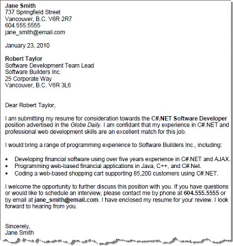 sample cover letter for experienced software professional