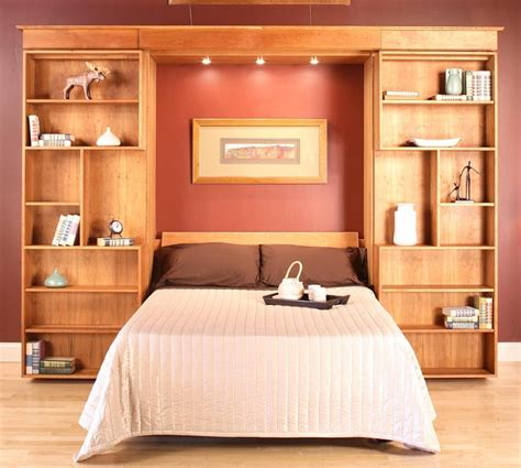 wall unit headboard beds custom library wall bed by hardwood artisans custommade com