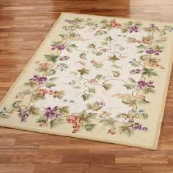 Vineyard Kitchen Rugs Vining Grapes Wool Area Rugs