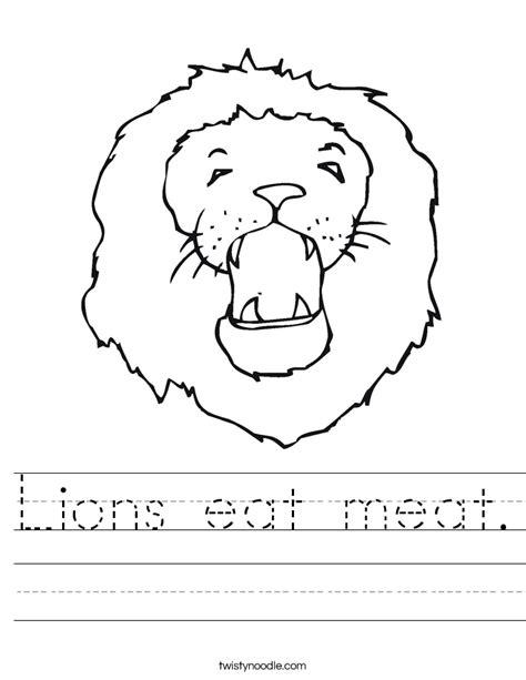 lions eat meat worksheet twisty noodle