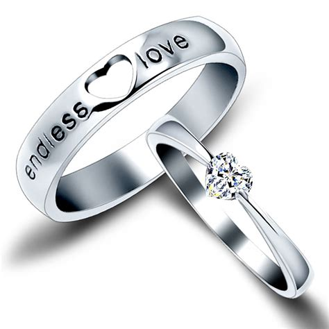Endless love quot matching couple sterling silver engagement rings
