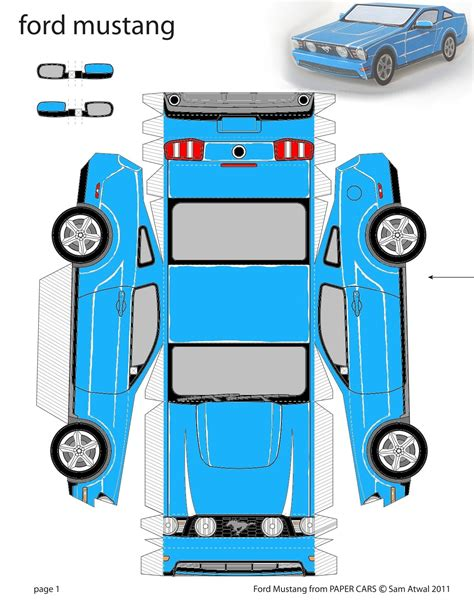Paper Cars To Make - grabber blue 2011 ford mustang paper car coupe