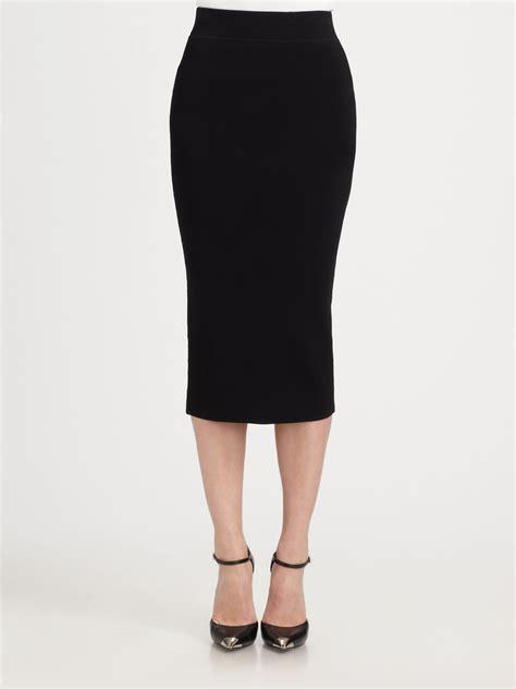 black stretch pencil skirt redskirtz