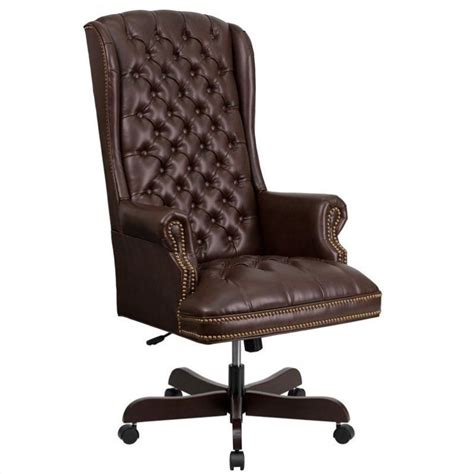 traditional upholstered executive office chair in brown