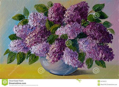 Flower Vase Glass Painting Peinture 224 L Huile Bouquet Color 233 Des Lilas Sur La Table