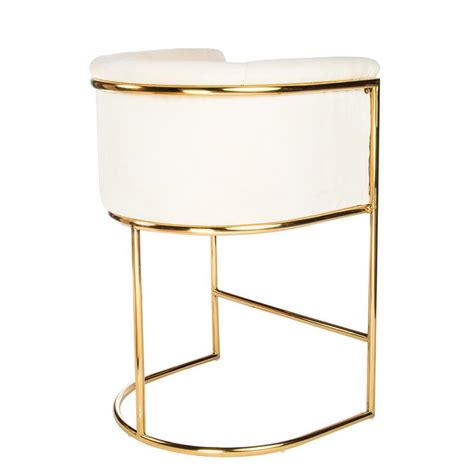 Gold And White Stool by Gold Wire Mesh Form Stool