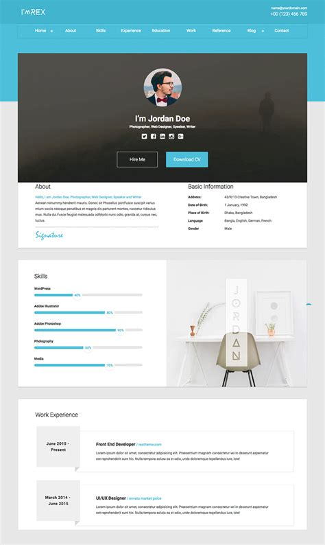 resumes cvs website templates portfolio cv wix