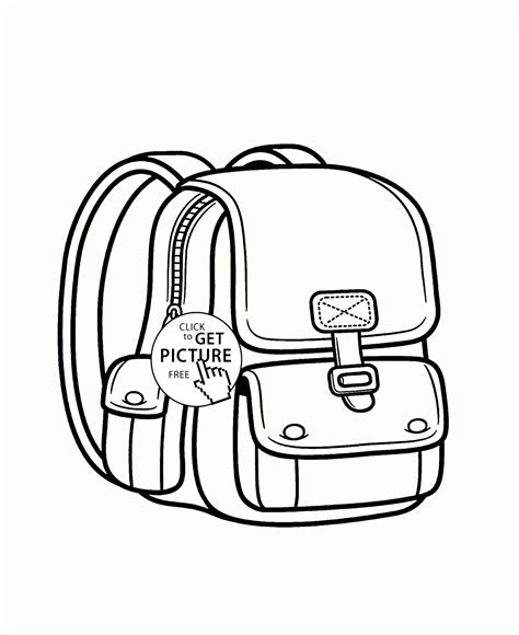 backpack coloring page for kids back to school coloring