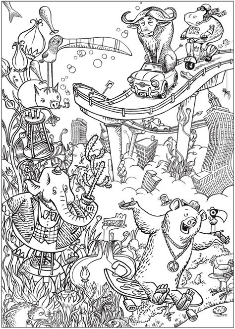 Buku Doodle Land creative bizarro land coloring book by cartoonis on