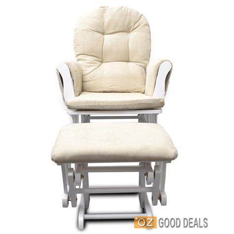 wooden baby glider sliding rocking breast feeding chair  ottoman white beige ebay