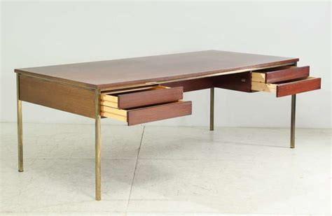 large executive desk with brass frame by florence knoll
