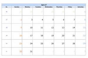 july calendar template july 2017 calendar template printable