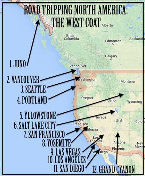 usa west coast road trip maps america west coast road trip of the nomad
