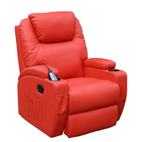 rocker recliner massage chair cinemo red leather recliner chair rocking massage swivel