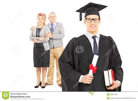 Mba Graduation Pictures With Parents Backgrounds by College Graduate And His Proud Parents Stock Photo Image