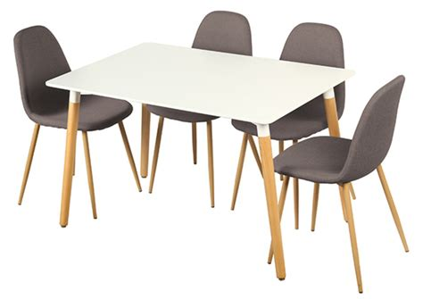 table cuisine chaises table 4 chaises otis blanc chene