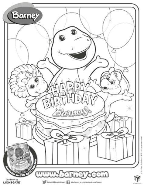 Happy Birthday Barney Coloring Pages | barney birthday coloring coloring pages