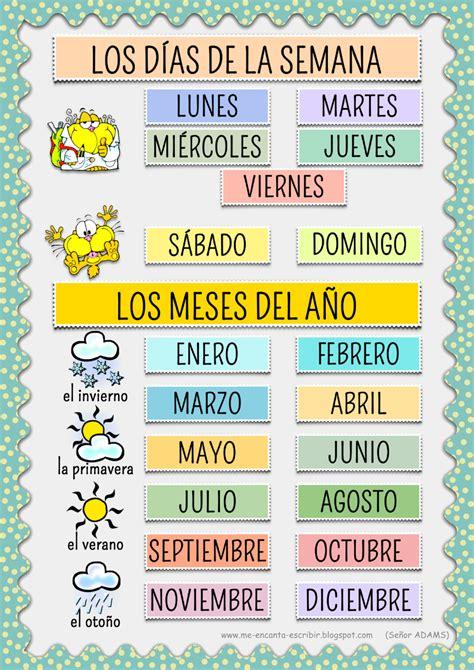 Calendario Con Todos Los Meses Me Encanta Escribir En Espa 241 Ol Los D 237 As De La Semana Y