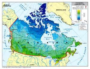 Canada Temperature Map by Temperature Map Of Canada By Bestcountryreports Com